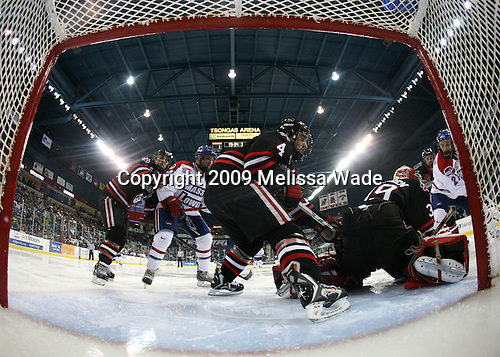Rob Rassey (Northeastern - 37), Kory Falite (UMass-Lowell - 12), Jim Driscoll (Northeastern - 4), Brad Thiessen (Northeastern - 39), Ben Holmstrom (UMass-Lowell - 21) - The Northeastern University Huskies defeated the University of Massachusetts-Lowell Riverhawks 3-1 on Saturday, February 28, 2009, at the Paul E. Tsongas Arena in Lowell, Massachusetts.