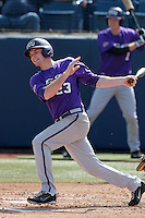 Zac Jordan #23 of the TCU Horned Frogs bats against the Cal State Fullerton Titans at Goodwin Field on February 26, 2012 in Fullerton,California. Fullerton defeated TCU 11-10.(Larry Goren/Four Seam Images)