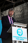 Henrik Overgaard-Nielsen speaking on stage at a Brexit Party event in Chester, Cheshire. The keynote speech was given by the Brexit Party leader Nigel Farage MEP who appeared alongside former Conservative government minister Ann Widdecombe. The event was attended by around 300 people and was one of the first since the formation of the Brexit Party by Nigel Farage in Spring 2019.