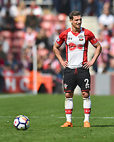 Southampton's Cedric Soares prepares to take a free kick<br /> <br /> Photographer David Horton/CameraSport<br /> <br /> The Premier League - Southampton v Chelsea - Saturday 14th April2018 - St Mary's Stadium - Southampton<br /> <br /> World Copyright &copy; 2018 CameraSport. All rights reserved. 43 Linden Ave. Countesthorpe. Leicester. England. LE8 5PG - Tel: +44 (0) 116 277 4147 - admin@camerasport.com - www.camerasport.com