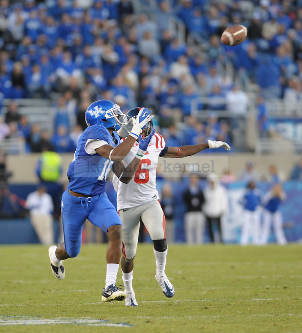 Kentucky Wildcats wide receiver La'Rod King (16) makes a catch during the second half of the University of Kentucky football game against Ole Miss at Commonwealth Stadium in Lexington, Ky., on 11/5/11. Uk won the game 30-13. Photo by Mike Weaver | Staff