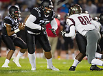 Lawndale, CA 09/29/17 - Sione Tai (Lawndale #75) and Chase Pitts (Torrance #80) in action during the Torrance vs Lawndale CIF Varsity football game at Lawndale High School.   Lawndale defeated Torrance 42-0.