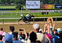 ELMONT, NY - JUNE 10: Mor Spirit #9, ridden by Mike Smith, wins the Mohegan Sun Metropolitan Handicap on Belmont Stakes Day at Belmont Park on June 10, 2017 in Elmont, New York (Photo by Scott Serio/Eclipse Sportswire/Getty Images)
