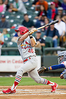 Memphis Redbirds outfielder Gary Brown (46) follows through on his swing during Pacific Coast League game against the Round Rock Express on April 21, 2015 at the Dell Diamond in Round Rock, Texas. Round Rock defeated Memphis 2-1. (Andrew Woolley/Four Seam Images)
