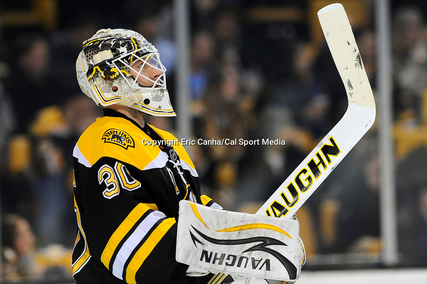 February 8, 2014 - Boston, Massachusetts, U.S. - Boston Bruins goalie Chad Johnson (30) in game action during the NHL game between the Ottawa Senators and the Boston Bruins held at TD Garden in Boston Massachusetts. The Bruins defeated the Senators 7-2 in regulation time.  Eric Canha/CSM