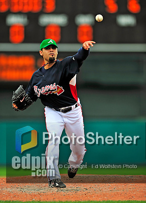 17 March 2009: Atlanta Braves' pitcher Mike Gonzalez on the mound during a Spring Training game against the New York Mets at Disney's Wide World of Sports in Orlando, Florida. The Braves defeated the Mets 5-1 in the Saint Patrick's Day Grapefruit League matchup. Mandatory Photo Credit: Ed Wolfstein Photo