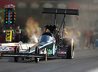 Jun 16, 2017; Bristol, TN, USA; NHRA top fuel driver Scott Palmer during qualifying for the Thunder Valley Nationals at Bristol Dragway. Mandatory Credit: Mark J. Rebilas-USA TODAY Sports
