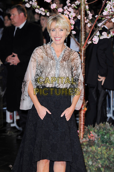 Emma Thompson<br /> attending the 57th BFI London Film Festival Closing Night Gala World Premiere of 'Saving Mr Banks', Odeon Cinema, Leicester Square, London, England. <br /> 20th October 2013<br /> half length black skirt beige white pattern blouse top hands in pockets <br /> CAP/MAR<br /> &copy; Martin Harris/Capital Pictures