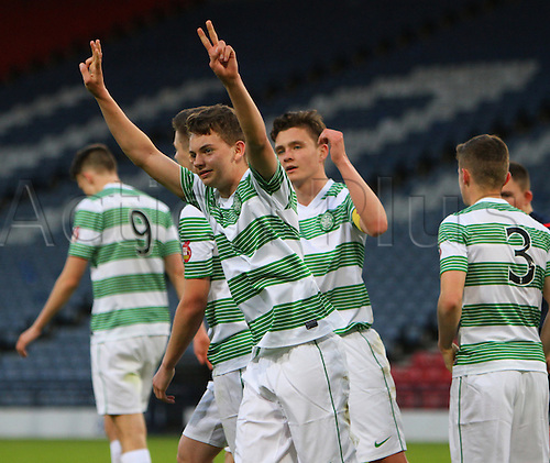 21.05.2015.  Glasgow, Scotland. Little Big Shot Scottish Youth Cup Final. Celtic versus Rangers.  Aidan Nesbitt celebrates his hat trick goal