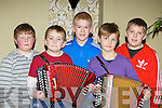 Promising musicians l-r: David Foley, Liam Kerrisk, Ken McCarthy, Darragh Fleming and Conor Coffey who performed at the Killarney School of Music annual concert in the Malton Hotel on Saturday night..