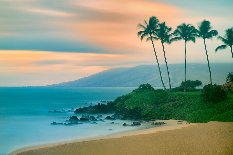 Maui coastline with sunset. Hawaii
