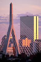 Zakim bridge telephoto from Bunker Hill, Hancock tower, Boston, MA
