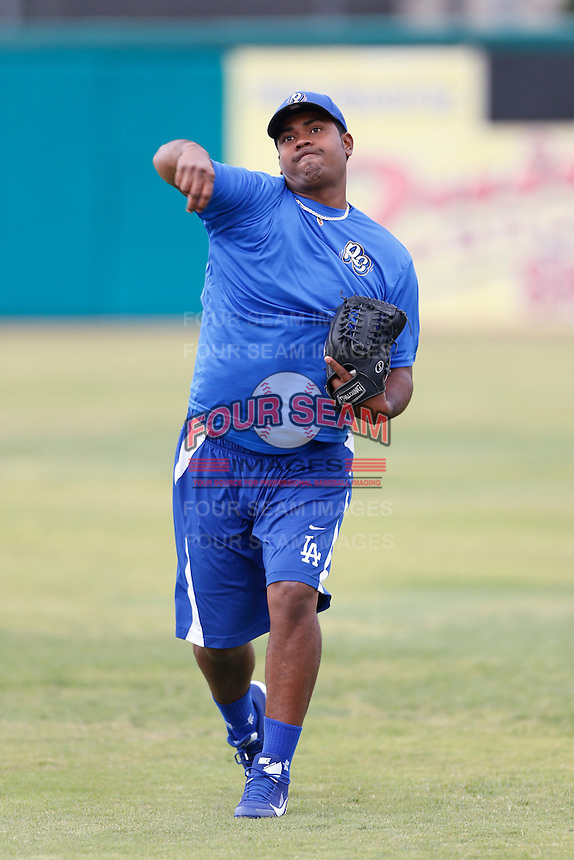 Gustavo Gomez #31 of the Rancho Cucamonga Quakes before a game against the Inland Empire 66'ers at San Manuel Stadium on April 24, 2013 in San Bernardino, California. Inland Empire defeated Rancho Cucamonga, 2-1. (Larry Goren/Four Seam Images)