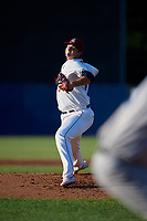 Mahoning Valley Scrappers starting pitcher Ethan Hankins (34) during a NY-Penn League game against the Hudson Valley Renegades on July 15, 2019 at Eastwood Field in Niles, Ohio.  Mahoning Valley defeated Hudson Valley 6-5.  (Mike Janes/Four Seam Images)