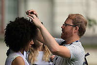 Pictured: Pearl Mackie has her hair adjusted Monday 27 June 2016<br />