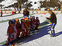 Austria, Tyrol, Lermoos: ski school for the youngest