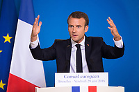 Emmanuel Macron gives a press conference during the EU summit meeting in Brussels - Belgium