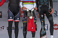 race winner Peter Sagan (SVK/Bora-Hansgrohe) knows what to do with his victory-trophy: the Kuurne Donkey<br /> <br /> 69th Kuurne-Brussel-Kuurne 2017 (1.HC)