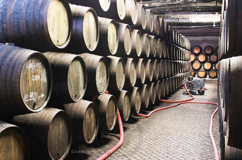 pumping over barrels with aging port sandeman port lodge vila nova de gaia porto portugal