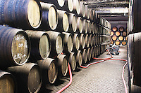 pumping over barrels with aging port sandeman port lodge vila nova de gaia porto portugal