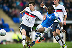St Johnstone v Dundee.....02.01.13      SPL.Declan Gallagher shoves Gregory Tade over in the box but no penalty was awarded.Picture by Graeme Hart..Copyright Perthshire Picture Agency.Tel: 01738 623350  Mobile: 07990 594431