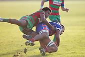Akariva Niubalavu tackles Sione Tu'ipulotu. Counties Manukau Premier Club Rugby game between Waiuku and Ardmore Marist, played at Waiuku on Saturday June 4th 2016. Ardmore Marist won 46 - 3 after leading 39 - 3 at Halftime. Photo by Richard Spranger.