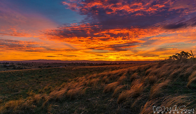 Sunrise over the rural town of Canowindra in New South Wales, Australia.