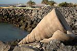 Shell sculpture of shell at Puerto del Rosario, Fuerteventura, Canary Islands.