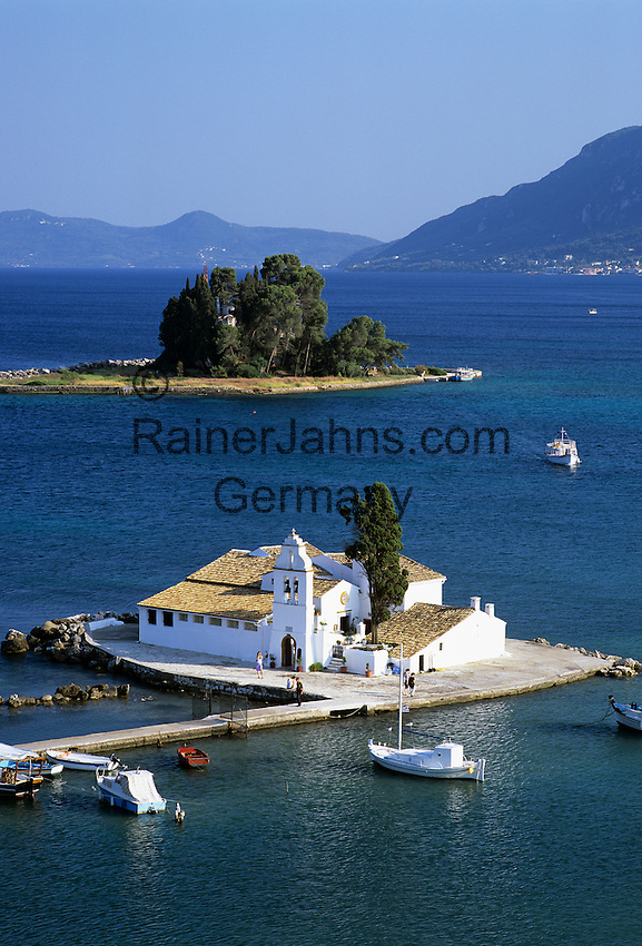 Greece, Corfu, Kanoni: View over the islands of Vlacherna and Pontikonisi with the Convent of the Virgin Mary