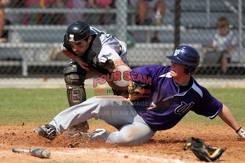 Slippery Rock catcher Matt Accardi #15 tags Brett Young #7 sliding into home during a game against the Winona State Warriors at Lake Myrtle Complex on March 15, 2012 in Auburndale, Florida.  Winona defeated Slippery Rock 10-3.  (Mike Janes/Four Seam Images)