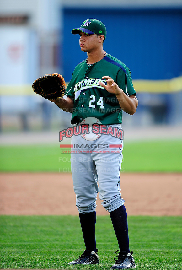 Jamestown Jammers infielder Viosergy Rosa #24 during practice before a game against the Batavia Muckdogs at Dwyer Stadium on June 22, 2012 in Batavia, New York.  Jamestown defeated Batavia 7-5.  (Mike Janes/Four Seam Images)
