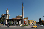 Tirana/Tirane-Albania - August 01, 2004---Seen from Skenderberg/Skanderberg Square: Clock tower (built in 1830), Minaret and the Mosque of Ethem Mey (built in 1793), in the center of Tirana, capital city of Albania; culture-religion---Photo: Horst Wagner/eup-images