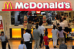 August 9, 2016, Tokyo, Japan - Customers buy sandwitches and drinks at a McDonald's restaurant in Tokyo on Tuesday, August 9, 2016. Japan's McDonald's Holdings said the company's net profit in the first half is 158 million while the fast-food restaurant chain posted record loss at the same period of the last year.    (Photo by Yoshio Tsunoda/AFLO) LWX -ytd-