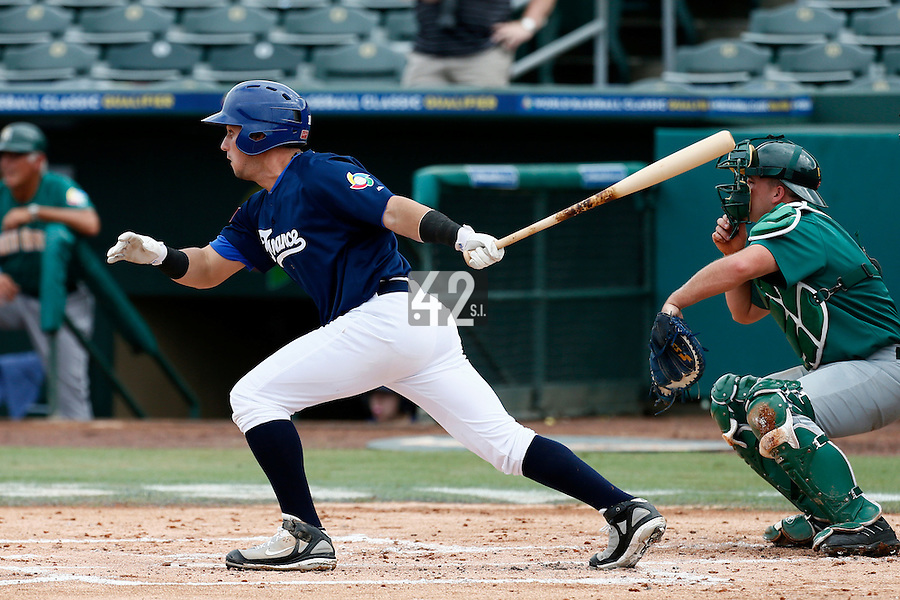 22 September 2012: Carlos Hereaud hits the ball during South Africa 5-2 win over France during the 2012 World Baseball Classic Qualifier round, in Jupiter, Florida, USA.