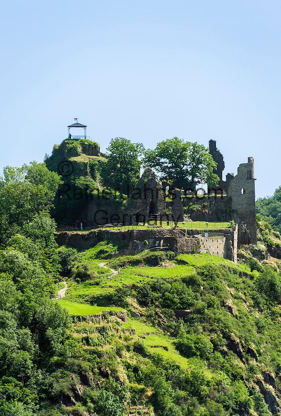 Germany, Rhineland-Palatinate, Ahr-Valley, above Altenahr: castle ruin Are | Deutschland, Rheinland-Pfalz, Ahrtal, oberhalb Altenahr: Burgruine Are