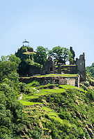 Germany, Rhineland-Palatinate, Ahr-Valley, above Altenahr: castle ruin Are | Deutschland, Rheinland-Pfalz, Ahrtal, oberhalb Altenahr: Burgruine Are