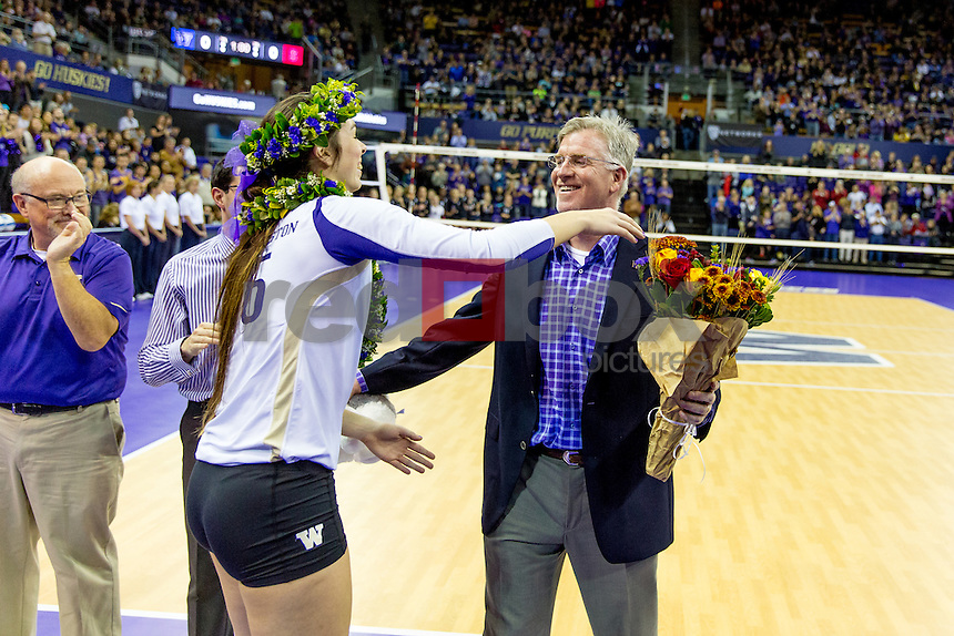 The University of Washington volleyball team defeats Stanford University 3-1 on November 26, 2014. (Photography by Scott Eklund/Red Box Pictures)