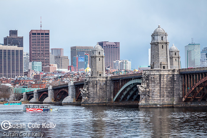 The Longfellow Bridge spans the Charles River between Cambridge and Boston, Massachusetts, USA