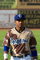 Zach Babitt (3) of the Ogden Raptors prior to the game against the Great Falls Voyagers in Pioneer League play at Lindquist Field on August 16, 2013 in Ogden Utah. Military Appreciation Night saw the Raptors take the field in camouflage uniforms. (Stephen Smith/Four Seam Images)