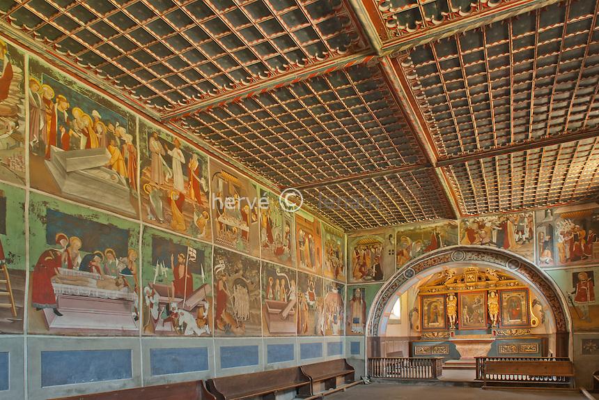 France, Savoie (73), Lanslevillard, chapelle Saint-Sébastien, les fresques // France, Savoie, Lanslevillard, chapel Sat Sebastien, frescoes