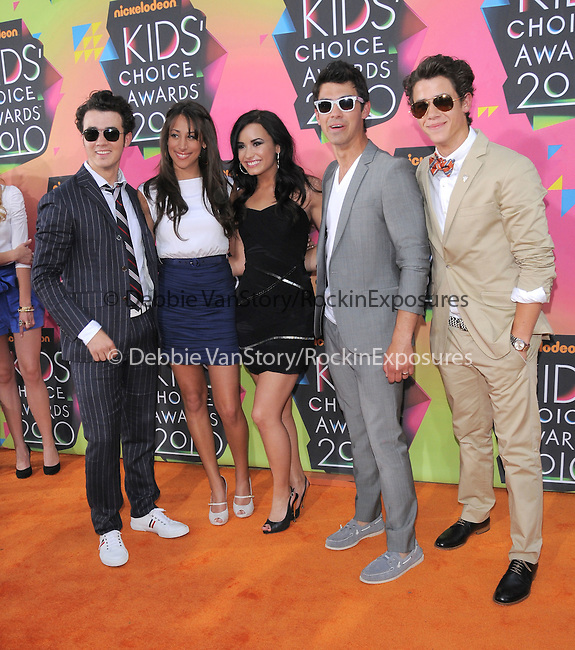 Kevin Jonas,Danielle Jonas,Demi Lovato,Joe Jonas & Nick Jonas at Nickelodeon's 23rd Annual Kids' Choice Awards held at Pauley Pavilion in Westwood, California on March 27,2010                                                                                      Copyright 2010 © DVS / RockinExposures