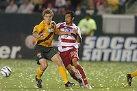 Chris Albright, left, Carlos Ruiz, right, L.A. Galaxy vs FC Dallas, L.A. won 2-0.
