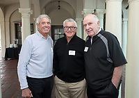 From left, Jim Mora '57, Ron Botchen '57 and Bill T. Redell '64.<br /> Occidental College alumni, staff and other members of the Oxy community gather in support of the football program, March 10, 2018 on Branca Patio.<br /> In January 2018 a 16-member task force of trustees, faculty, students, staff and alumni met to determine the fate of the football program in the wake of the premature end of the 2017 season. The College is moving full speed ahead with preparations for the 2018 season, led by the Football Action Team.<br /> (Photo by Marc Campos, Occidental College Photographer)