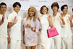March 16, 2016, Tokyo, Japan - Australian actress Miranda Kerr (C, R) and American Korean singer Crystal Kay (C, L) pose with Japanese male models as they attend a promotoin event of Japanese handbag maker Samantha Thavasa at the company's shop in Tokyo on Wednesday, March 16, 2016. American Korean singer Crystal kay attended the event as she sings an image song for the latest commercial film.   (Photo by Yoshio Tsunoda/AFLO) LWX -ytd-