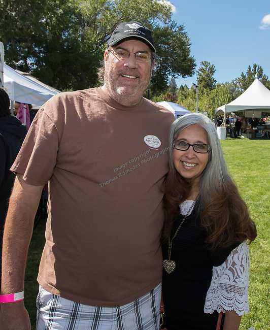 Mike and Yolie Larson during the inaugural Bud and Brew Music Festival in Wingfield Park in downtown Reno on Saturday, Sept. 23, 2017.