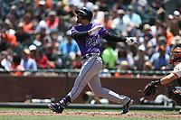 SAN FRANCISCO, CA - JUNE 28:  Nolan Arenado #28 of the Colorado Rockies bats against the San Francisco Giants during the game at AT&T Park on Wednesday, June 28, 2017 in San Francisco, California. (Photo by Brad Mangin)