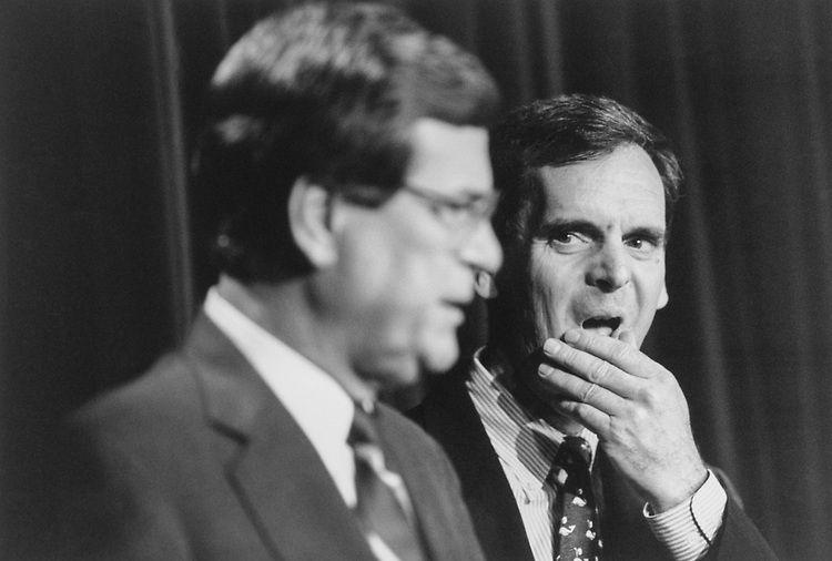 Sen. Judd Gregg, R-N.H., Deputy Whip appointment, on Dec. 6, 1994. (Photo by Laura Patterson/CQ Roll Call via Getty Images)