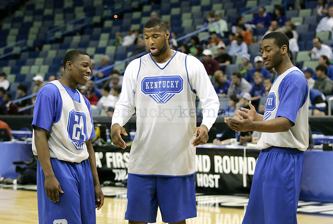 Freshmen John Wall, Eric Bledsoe and DeMarcus Cousin's goof off during an open practice before UK's first round of the NCAA tournament at New Orleans Arena on Wednesday, March 17, 2010. Photo by Adam Wolffbrandt | Staff