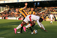 Craig Dundas of Sutton and Greg Taylor of Cambridge during Cambridge United vs Sutton United , Emirates FA Cup Football at the Cambs Glass Stadium on 5th November 2017