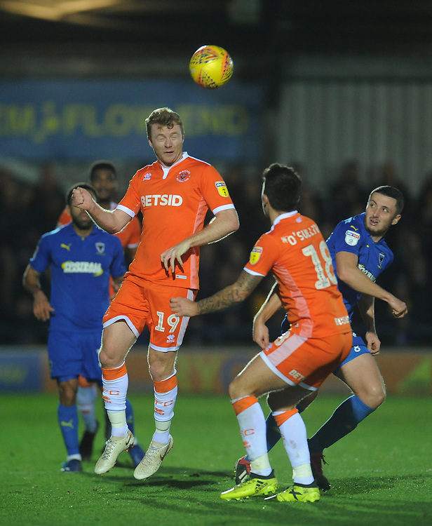 Blackpool's Chris Taylor<br /> <br /> Photographer Kevin Barnes/CameraSport<br /> <br /> The EFL Sky Bet League One - AFC Wimbledon v Blackpool - Saturday 29th December 2018 - Kingsmeadow Stadium - London<br /> <br /> World Copyright © 2018 CameraSport. All rights reserved. 43 Linden Ave. Countesthorpe. Leicester. England. LE8 5PG - Tel: +44 (0) 116 277 4147 - admin@camerasport.com - www.camerasport.com